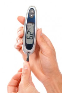 Diabetic using Arginine measuring glucose level blood test